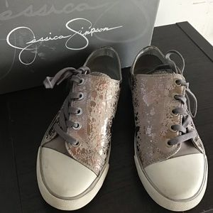 Jessica Simpson silver pewter tie-up sneakers 1f4e58ec610